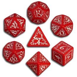 Sada kostek - K4, K6, K8, K10, K12, K20, K% - elfské červeno-bílé