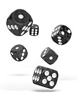 Sada 12 kostek D6 - Marble Black (16 mm)